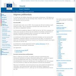 European Commission : Trade : Export Helpdesk : Régimes préférentiels