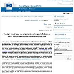 European Commission - PRESS RELEASES - Press release - Stratégie numérique: une enquête révèle les points forts et les points faibles des programmes de contrôle parental