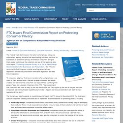 Issues Final Commission Report on Protecting Consumer Privacy