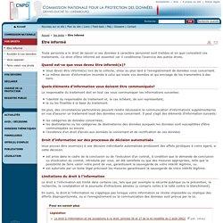 Etre informé - Commission nationale pour la protection des données - Vos droits