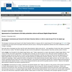 Agreement on Commission's EU data protection reform will boost Digital Single Market