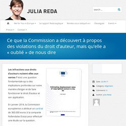 Ce que la Commission a découvert à propos des violations du droit d'auteur, mais qu'elle a «oublié» de nous dire