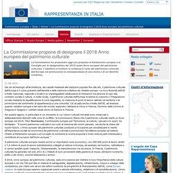 La Commissione propone di designare il 2018 Anno europeo del patrimonio culturale