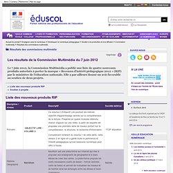 Résultats des commissions multimédia - Commission multimédia 7 juin 2012