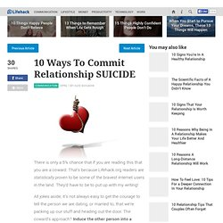 How to commit relationship suicide