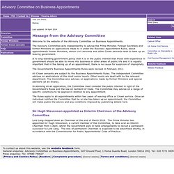 Advisory Committee on Business Appointments | Home
