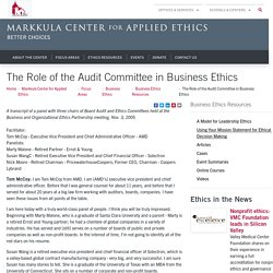 The Role of the Audit Committee in Business Ethics - Markkula Center for Applied Ethics