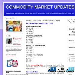 Commodity Market News, MCX HNI TIPS