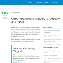 Common Anxiety Triggers for Anxiety and Panic