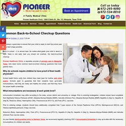 Common Back-to-School Checkup Questions
