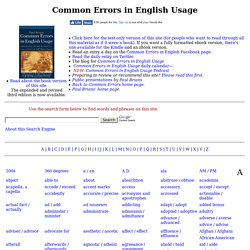 Common Errors in English Usage