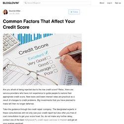 Common Factors That Affect Your Credit Score