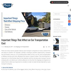 Common Factors That Affect The Cost of Car Shipping