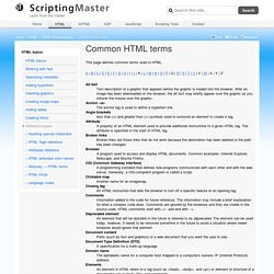 Common HTML terms