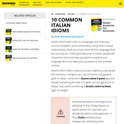 10 Common Italian Idioms - dummies