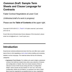 <em>Common Draft:</em> Sample Term Sheets and Clause Language for Contracts