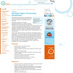 Common Signs of Learning Disabilities