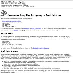 Common Lisp the Language, 2nd Edition
