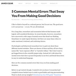 5 Common Mental Errors That Sway Your Decision Making