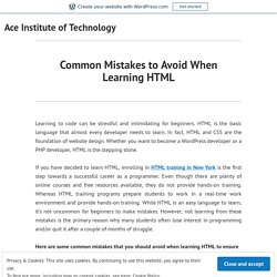 Common Mistakes to Avoid When Learning HTML