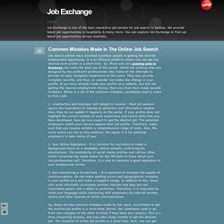 Common Mistakes Made In The Online Job Search