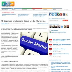 15 Common Mistakes In Social Media Marketing