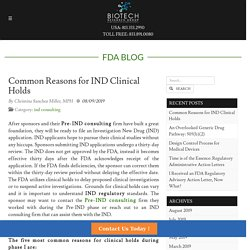 Common Reasons for IND Clinical Holds - BRG
