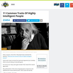 11 common traits of highly intelligent people