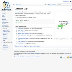 Common Lisp - Wikibooks, collection of open-content textbooks