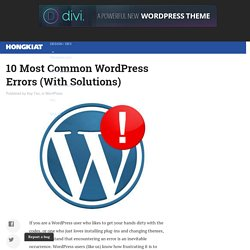 10 Most Common WordPress Errors (With Solutions) - Hongkiat