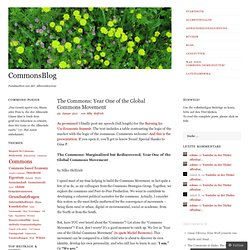 The Commons: Year One of the Global Commons Movement « CommonsBlog