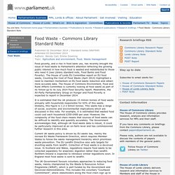 Food Waste - Commons Library Standard Note
