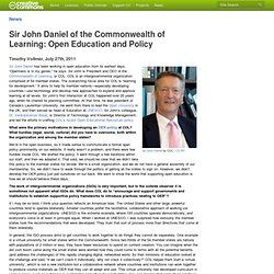 Sir John Daniel of the Commonwealth of Learning: Open Education and Policy