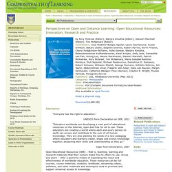 Perspectives on Open and Distance Learning: Open Educational Resources: Innovation, Research and Practice