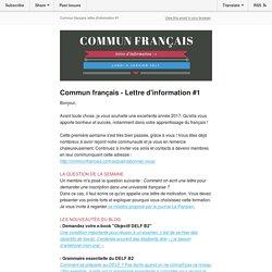 Commun français - Lettre d'information #1