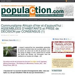 Communalisme Africain d'hier et d'aujourd'hui : ASSEMBLÉES D'HABITANTS et PRISE de DÉCISION par CONSENSUS (1)