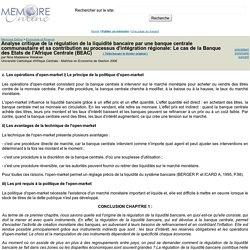 Analyse critique de la régulation de la liquidité bancaire par une banque centrale communautaire et sa contribution au processus d'intégration régionale: Le cas de la Banque des Etats de l'Afrique Centrale (BEAC) - Nina Madeleine Welakwe