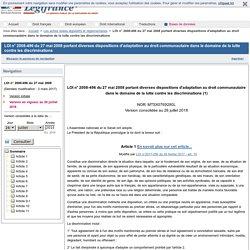 LOI n° 2008-496 du 27 mai 2008 portant diverses dispositions d'adaptation au droit communautaire dans le domaine de la lutte contre les discriminations