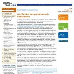 Action communautaire > SACAIS – Ministère du Travail, de l'Emploi et de la Solidarité sociale