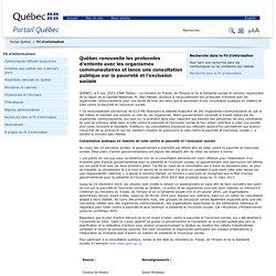 Québec renouvelle les protocoles d'entente avec les organismes communautaires et lance une consultation publique sur la pauvreté et l'exclusion sociale