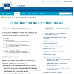 Belgique-Communaute-francaise:L'enseignement de promotion sociale - Eurydice