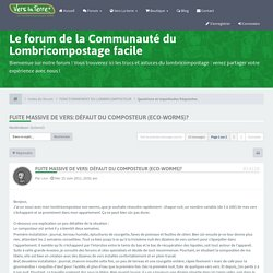 Le forum de la Communauté du Lombricompostage facile Afficher le sujet - Fuite massive de vers: défaut du composteur (eco-worms)?