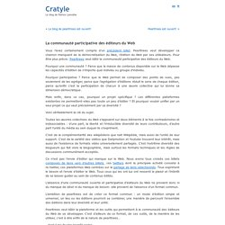 La communaut? participative des ?diteurs du Web ? Cratyle.net