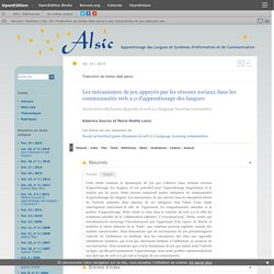 Les mécanismes de jeu appuyés par les réseaux sociaux dans les communautés web 2.0 d'apprentissage des langues