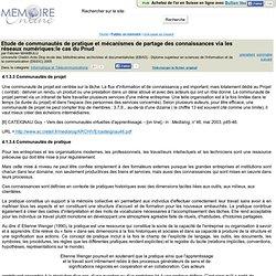 Etude de communautes de pratique et mecanismes de partage des connaissances via les reseaux numeriques:le cas du Pnud - Félicien MAMBULU