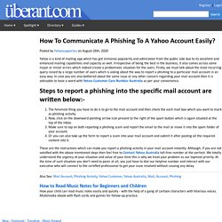 How To Communicate A Phishing To A Yahoo Account Easily?