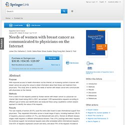 Needs of women with breast cancer as communicated to physicians on the Internet