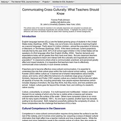 Pratt-Johnson - Communicating Cross-Culturally: What Teachers Should Know