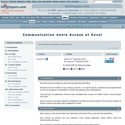 Communication entre Access et Excel