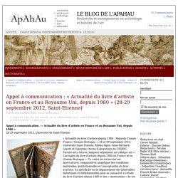 Appel à communication : «Actualité du livre d'artiste en France et au Royaume Uni, depuis 1980» (28-29 septembre 2012, Saint-Etienne)